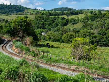 Train Rail Road. View of railroad tracks. Stockfoto