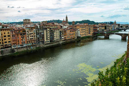 Florence on the river bank. City of Florence, Italy.