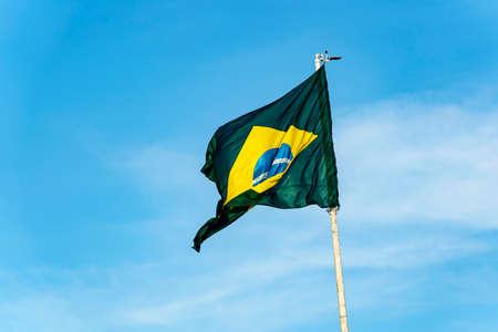 Brazil's flag. Flag of Brazil in the wind.