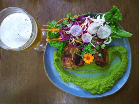 Gourmet food and beer. Healthy food.