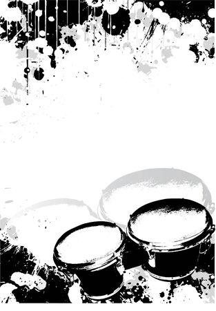 tambores: Fondo de p�ster de bater�a Vectores