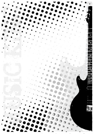 Electric Guitar Dots Poster Background Vector