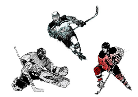 ice hockey trio Illustration