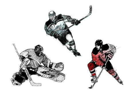 охватывающей: ice hockey trio Иллюстрация