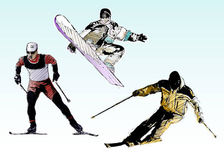 skiing trio Vector