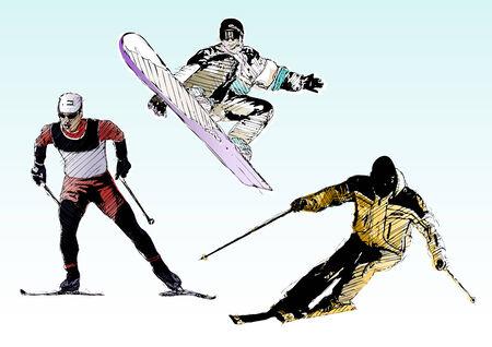 skiing trio Stock Vector - 6462858