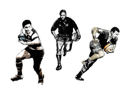 feathered: rugby trio