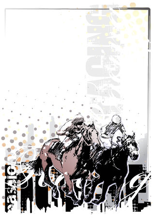 jockeys: horse racing background 1 Illustration