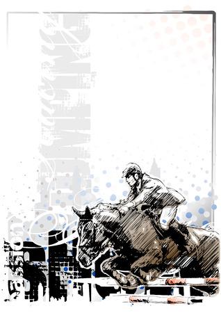 caballo saltando: espectáculo de salto fondo 1 Vectores