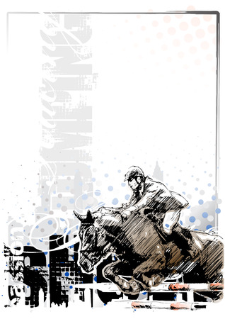 springpaard: Show springen achtergrond 1 Stock Illustratie