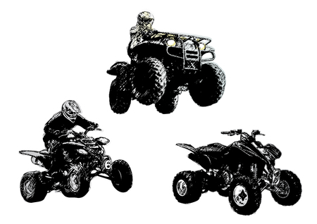 trail bike: motorsport trio Illustration