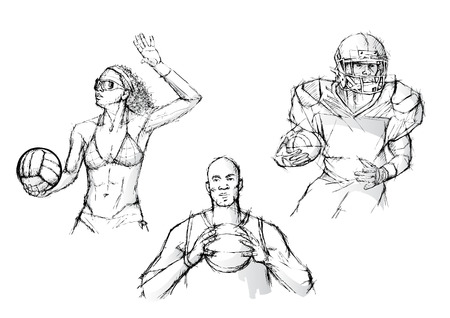 sketching of the ballgames Vector