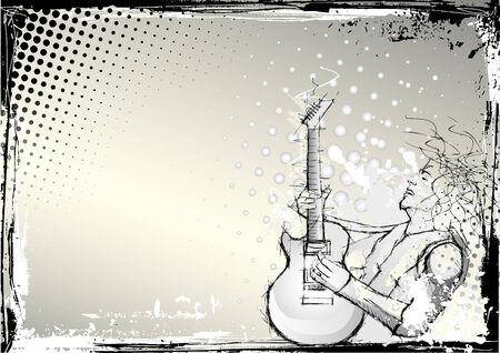sketching of the guitarist Vector