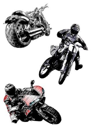 motorcycles trio Stock Vector - 6946596