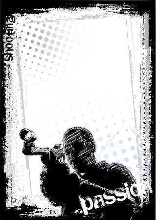 dark face:   shooting man Illustration