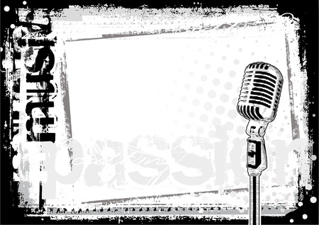 vintage mic: microphone background Illustration