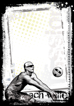 guy on beach: beach volleyball poster background 1 Illustration