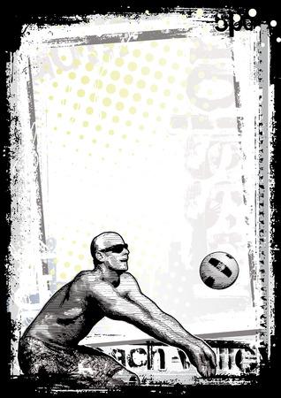 pelota de voley: Fondo de p�ster de voleibol de Playa 1