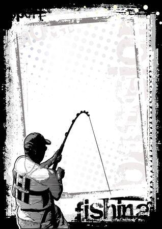 hengelsport: visserij poster achtergrond 2 Stock Illustratie