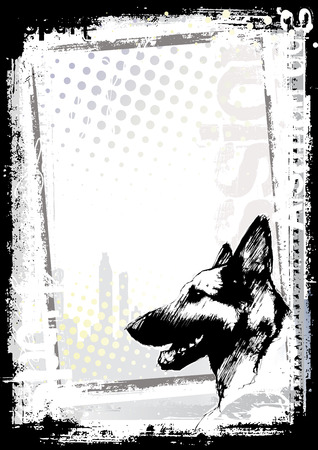 dog on the poster background Vector