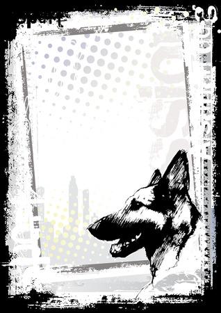 perro policia: perro en el fondo de p�ster