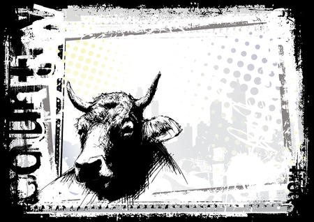 beast ranch: cow background Illustration