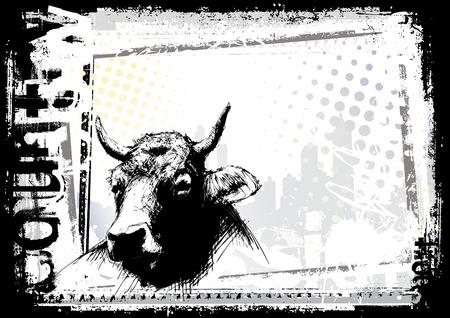 pastoral: cow background Illustration