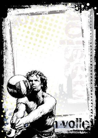 beach game: beach volleyball background  Illustration