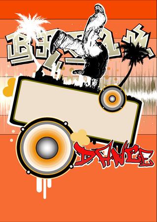 hip hop dance pose: p�ster de break dance  Vectores