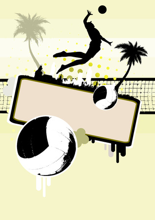 guy on beach: beach volleyball background Illustration