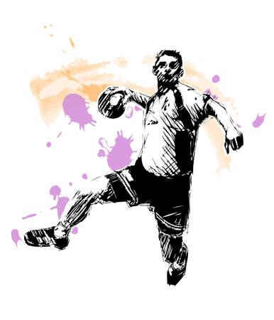 balonmano: Esbozo de balonmano  Vectores