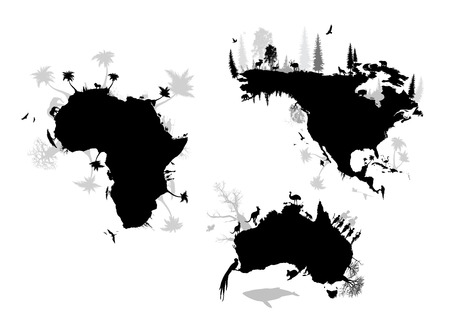 africa, north america and australia Vector