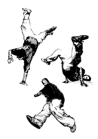 street dance: breakdancer trio Illustration