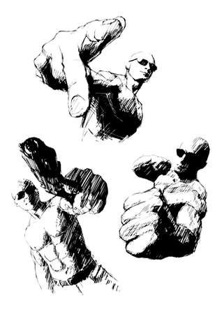 gun fight: aggressive trio Illustration