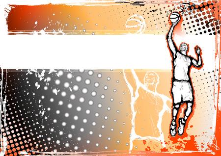 hoops: orange basketball byckground Illustration
