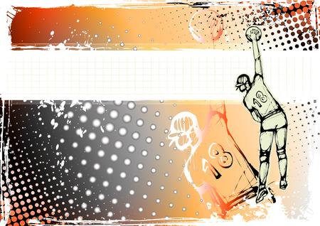 female volleyball: orange volleyball background Illustration