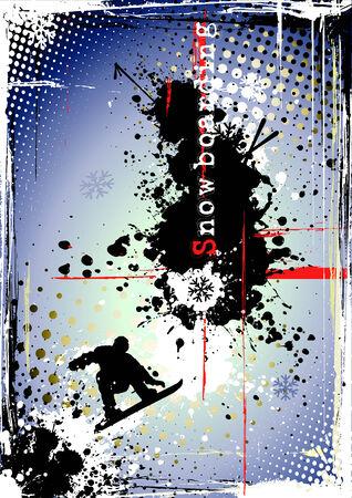 Póster de snowboard sucio Ilustración de vector