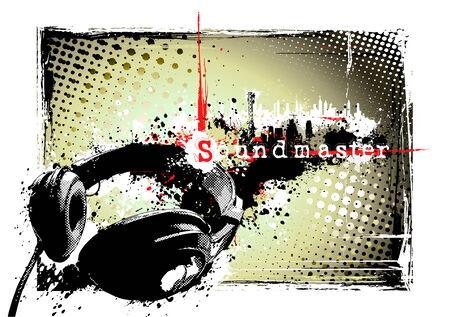 dirty headphones poster Stock Vector - 8532062