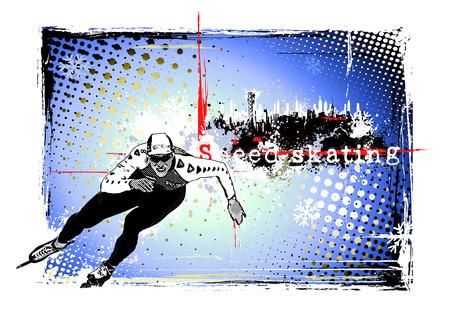 speed skating: speed skating background Illustration