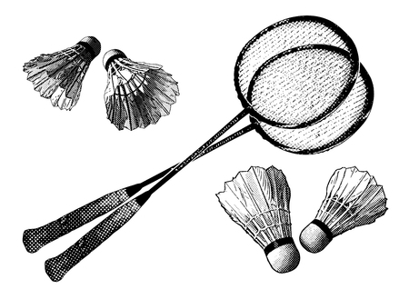 badminton racket: badminton equipment Illustration