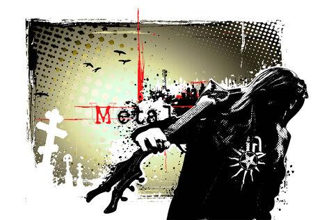 heavy metal: guitarist poster Illustration