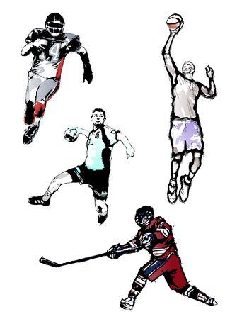 balonmano: Cuarteto de deporte Vectores