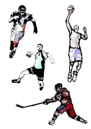 a basketball player: sport quartet Illustration