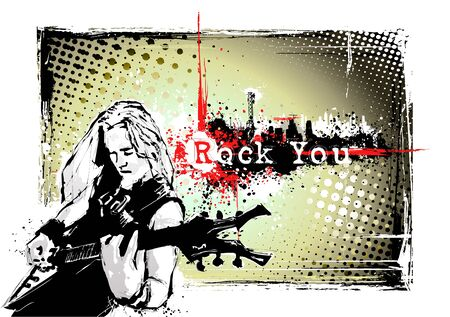 rock band: guitarist poster Illustration