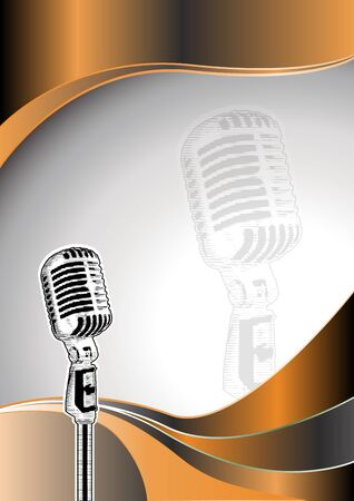 karaoke: microphone metal background Illustration
