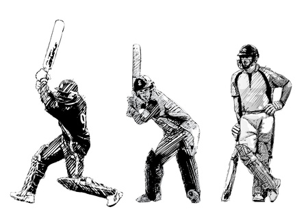 cricketer: cricket trio Illustration