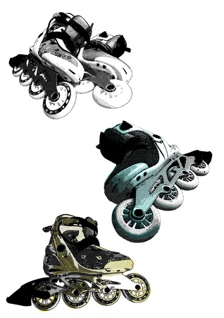 inline skates: The branch of a pine shined with a sunlight during a rain Illustration