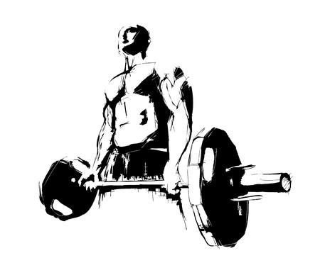 dumbell: il bodybuilder Vettoriali