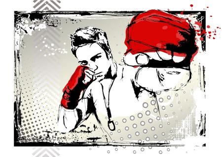 fighting poster  イラスト・ベクター素材