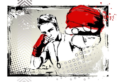 male boxer: fighting poster Illustration